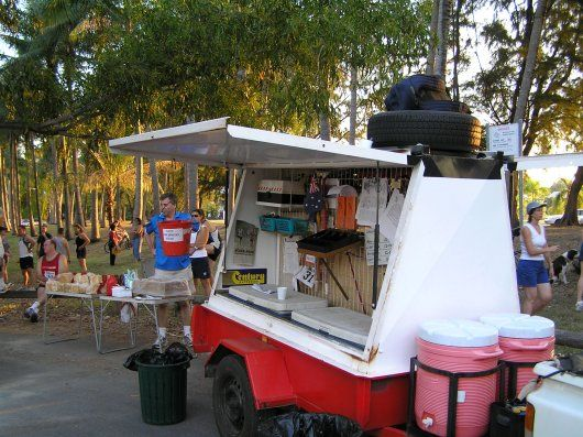 The club trailer carries equipment, notices, a barbecue and drinks.